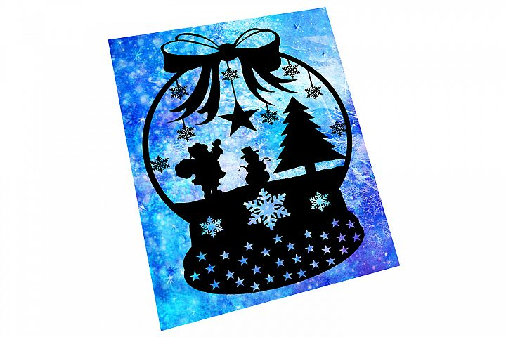 Snow Globe Papercut Template