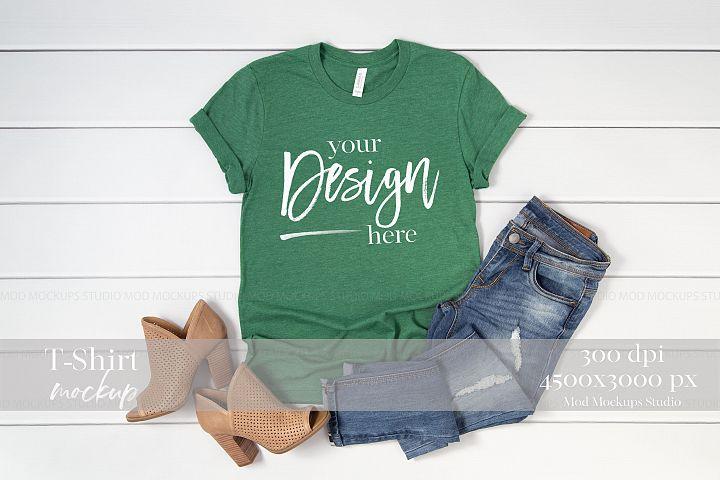 Mock up T-Shirt Heather Grass Green 3001 Bella Canvas Mockup