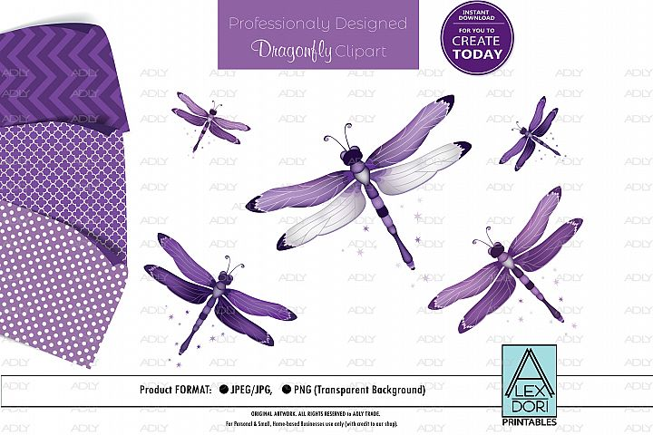 Purple Dragonfly PNG, Clipart Set