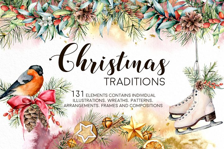 Christmas traditions. Watercolor clip art