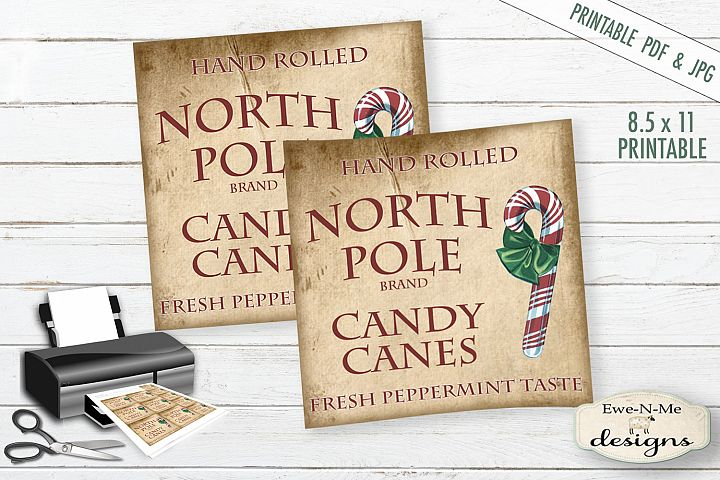 Printable Christmas Tags/Labels - Candy Canes - PDF & JPG