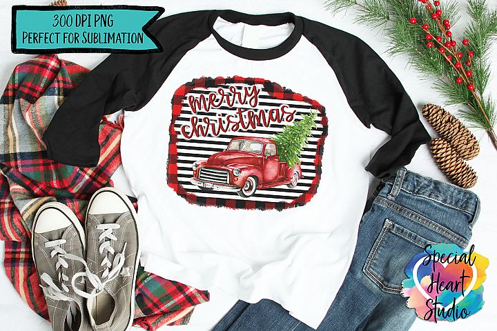 Christmas Sublimation Printable - Red Truck PNG