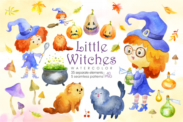 Little witches. Halloween watercolor clip arts and seamless