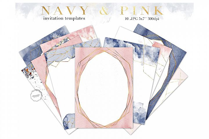 Navy Blue and Pink Invitation Templates