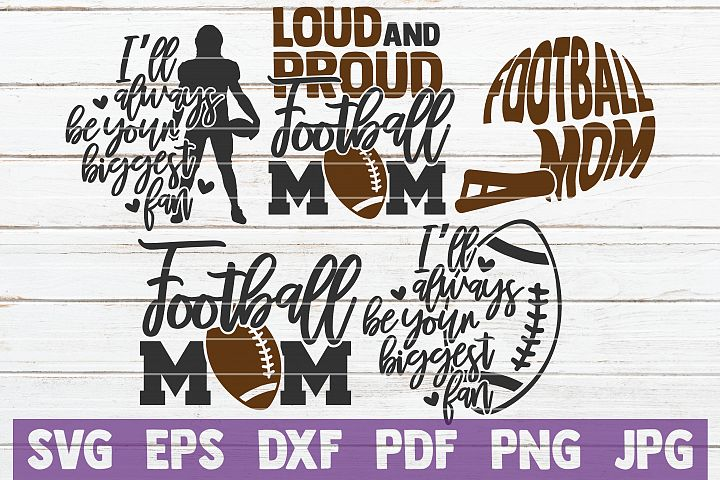 5 Football Mom SVG Cut Files | Football SVG Bundle