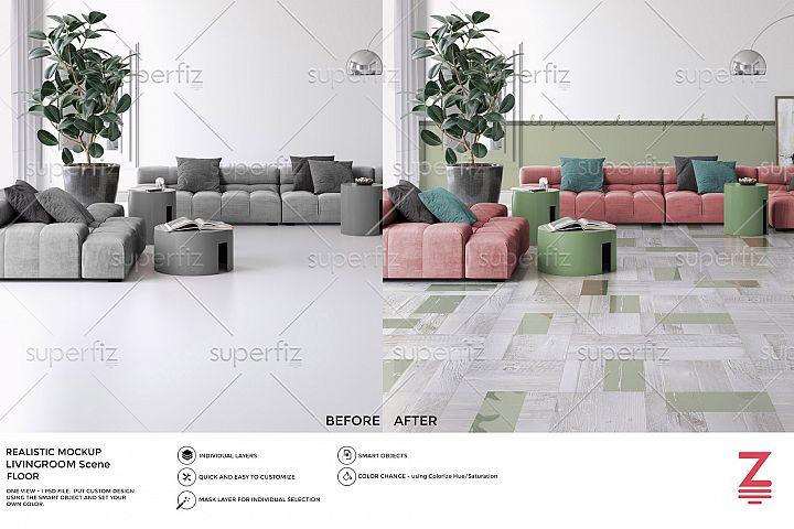 Livingroom PSD Mockup to change Floor surface SM36