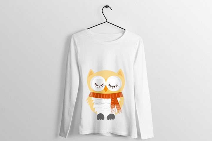 Cute Owl Scarf T-shirt Design Illustration