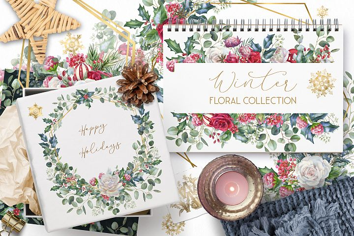Watercolor floral Christmas collection, winter wedding borde
