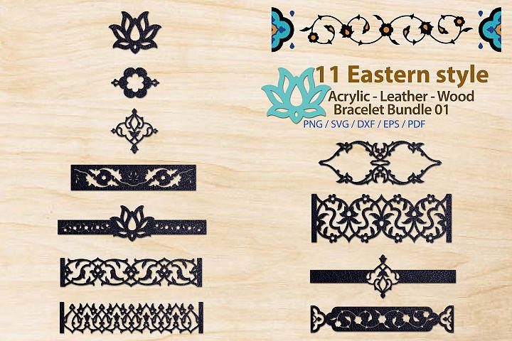 Eastern style Acrylic Leather Wood Bracelet Bundle 01
