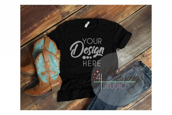 Black TShirt Bella Canvas 3001 Cowboy Boots Shirt Mockup
