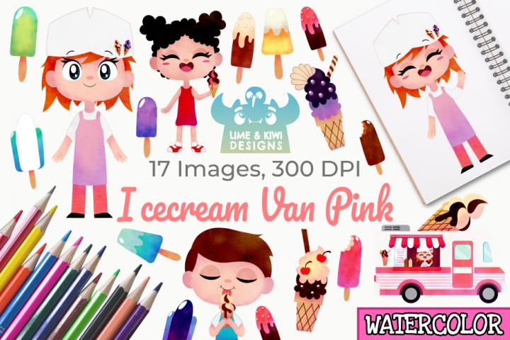 Icecream Van Pink Watercolor Clipart, Instant Download