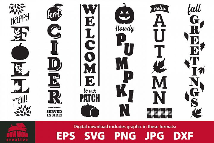 Fall / Autumn porch sign bundle - SVG, EPS, JPG, PNG, DXF