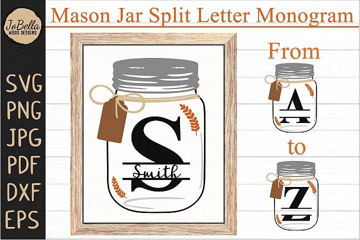 Farmhouse Split Letter Monogram SVG Initials A to Z
