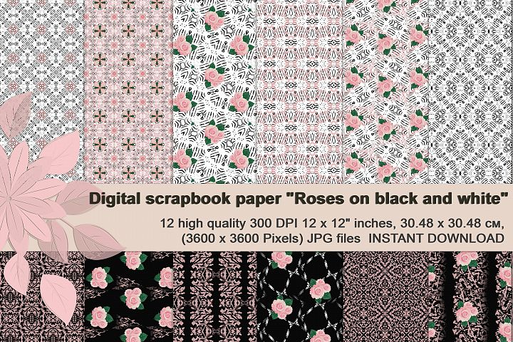 Black and white digital paper with roses
