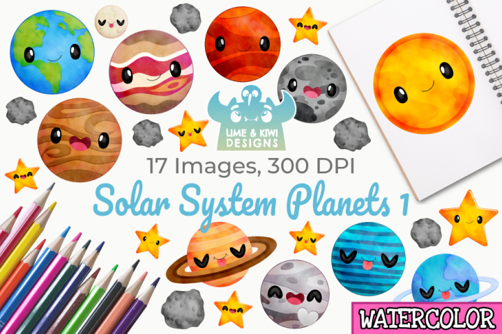 Solar System Planets 1 Watercolor Clipart, Instant Download