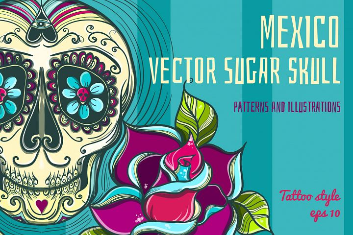 Vector Sugar Skull with roses