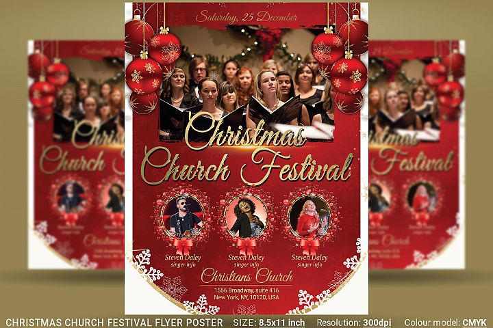 Christmas Church Festival Flyer Poster