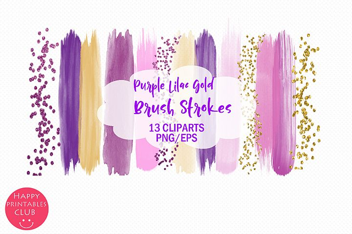 Purple Lilac Gold Brush Strokes Clipart-Clipart Brush Stroke