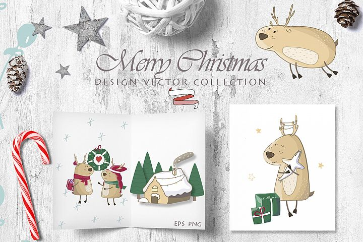 Little Christmas Cute Deers Set