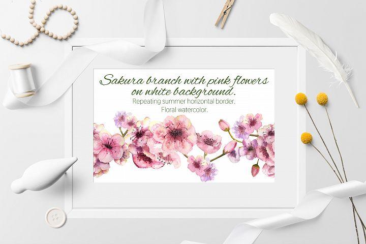 Sakura branch. Seamless background