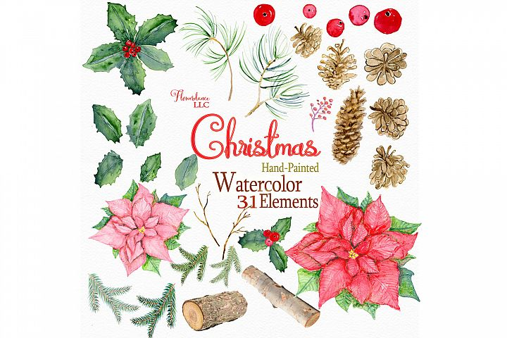 Watercolor Christmas Rustic Woodland Clipart