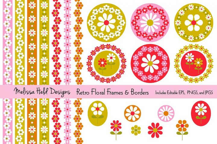 Retro Floral Frames and Borders