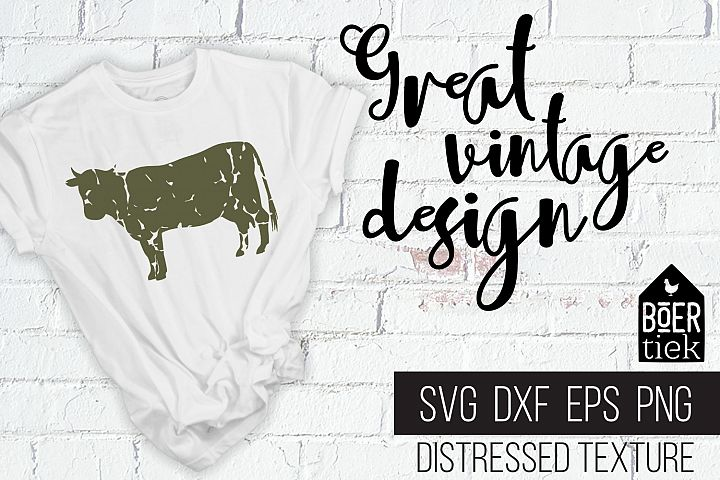 Vintage cow, distressed texture, cow SVG file, farm animal