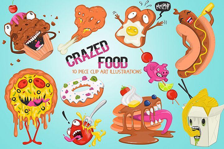 Funny Crazed Foods Illustrations