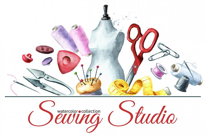 Sewing studio. Watercolor collection