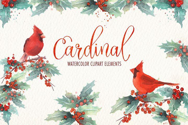 Cardinal bird watercolor clipart set