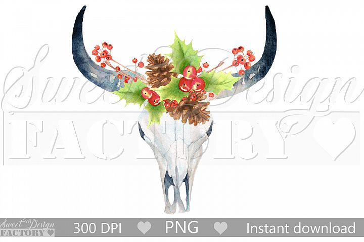 watercolor christmas cow skull clipart