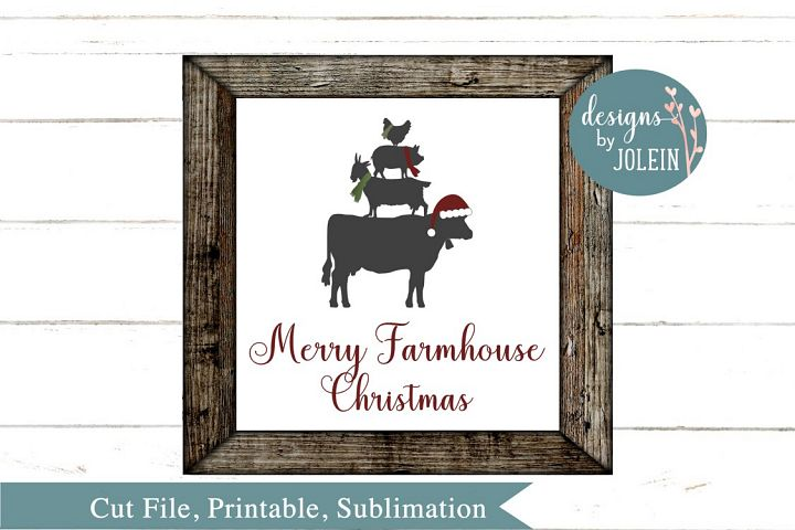 Merry Farmhouse Christmas SVG, png, eps, sublimation, print