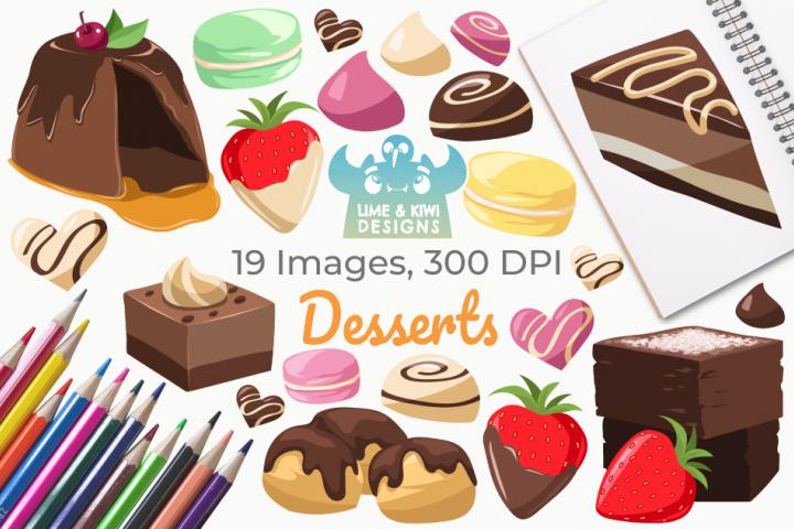 Desserts Clipart, Instant Download Vector Art