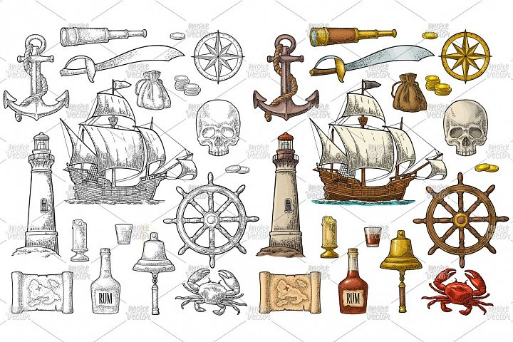 Set pirate adventure. Vector vintage engraving isolated