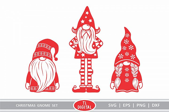 Christmas Gnomes Set of 3 Cutting Files - Gnome Designs