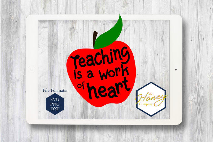 Teacher SVG PNG DXF Back to School Teaching Apple Heart