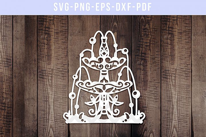 Water Fountain 3 Paper Cut Template, Wedding Decor SVG, PDF