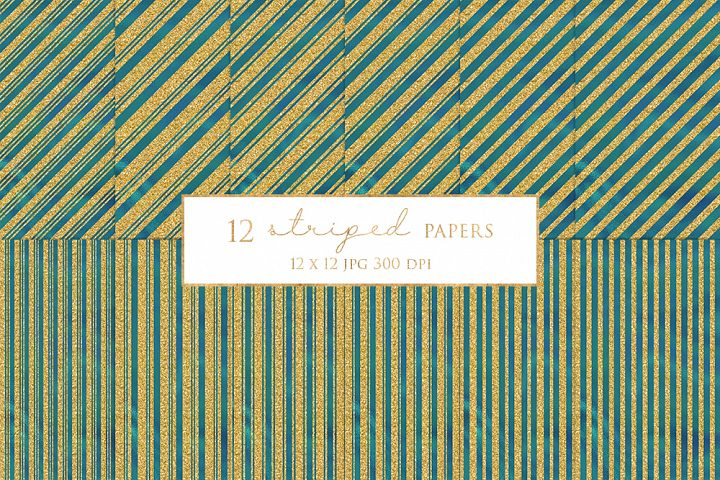 12 Gold Striped Digital Paper Pack