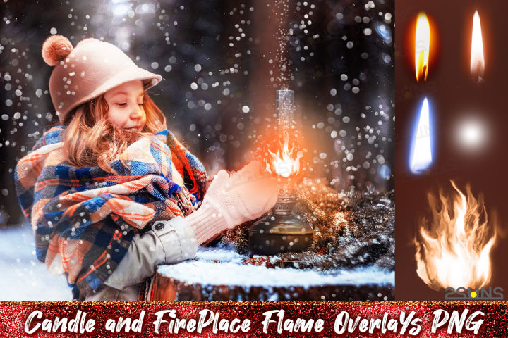 Christmas overlays Candle flame png Fireplace overlays