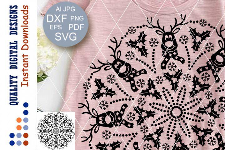 Mandala Merry Christmas deer clip art SVG Dxf Cricut Eps Png