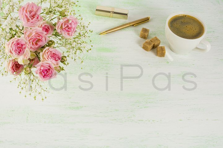 Roses and coffee styled background