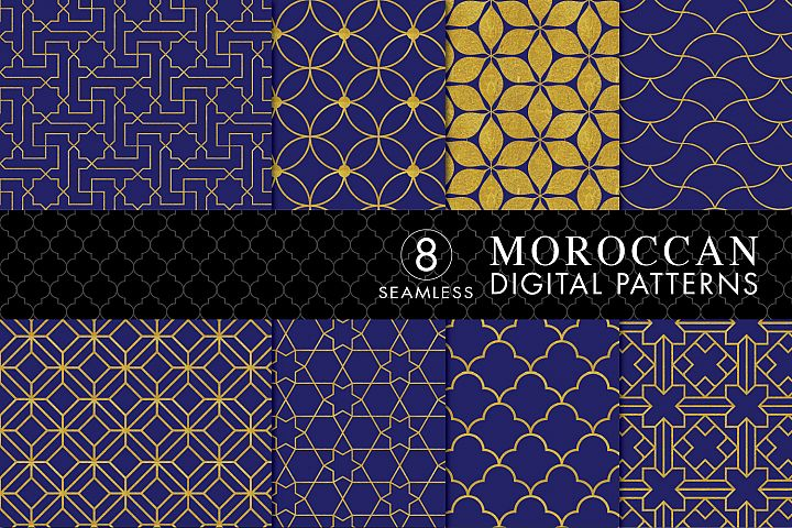 8 Seamless Moroccan Patterns - Gold & Cobalt Blue Set 3