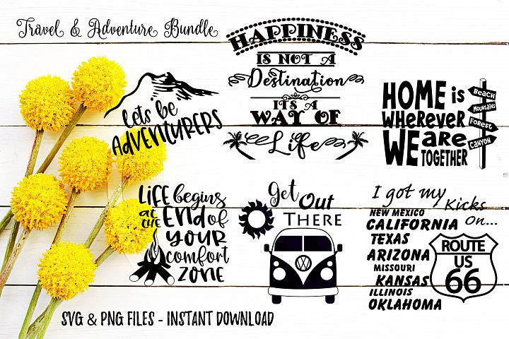 Travel & Adventure SVG Bundle Print or Cute Files Cricut Cameo Silhouette Brother Scan & Cut Crafters Cutting Files for Vinyl Cutting Sign Making