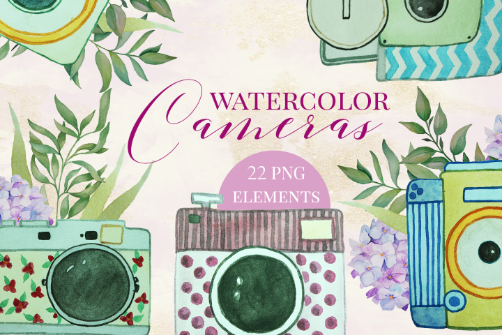 Watercolor Vintage Cameras