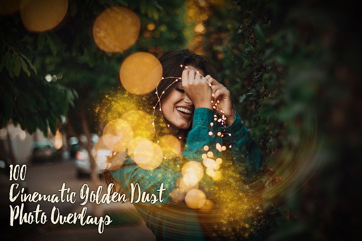 100 Cinematic Golden Dust Photo Overlays