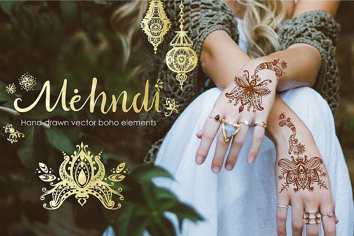 Mehndi. Hand drawn vector boho elements