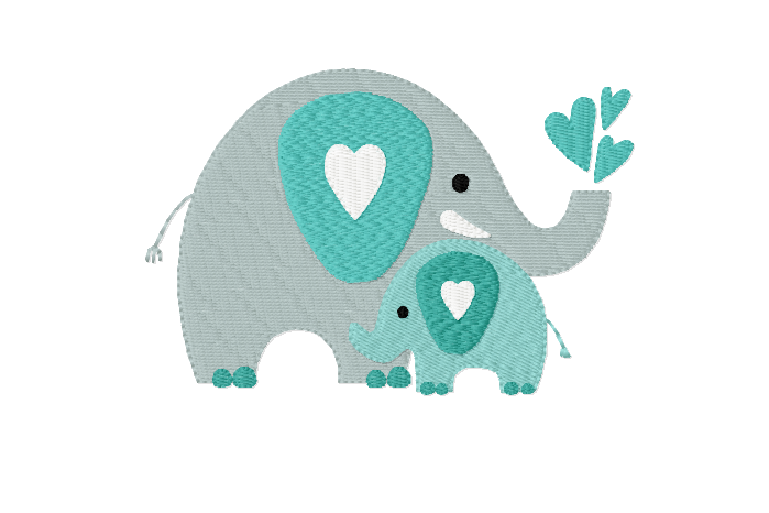 Mothers Love ~ ELEPHANTS - Mother and Baby ~ Machine Embroidery Design in 2 sizes - Instant Download