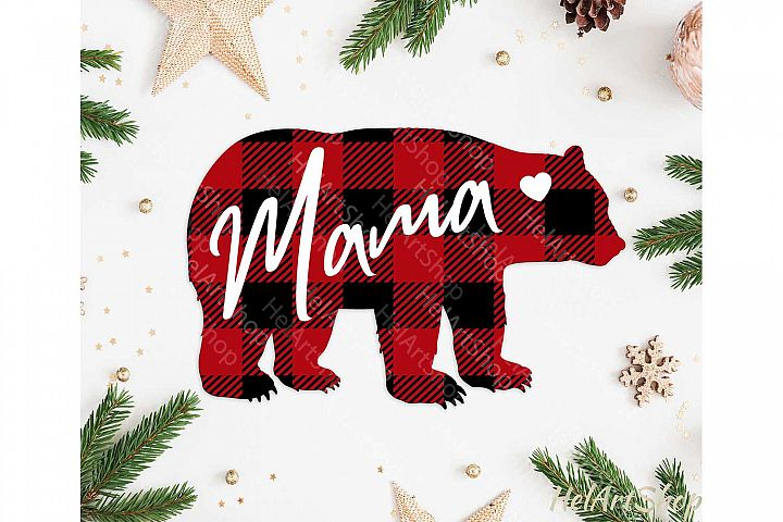 Mama Bear svg, Buffalo plaid svg