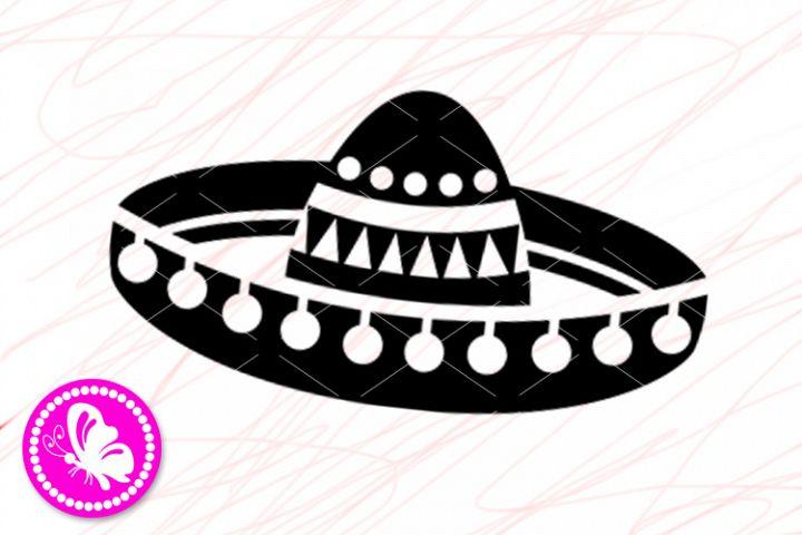 Mexican Sombrero hat print Cricut downloads Silhouette Dxf
