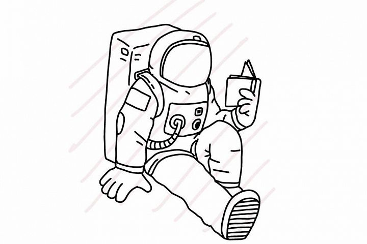 Astronaut sitting and reading a book - SVG/JPG/PNG Hand Drawing